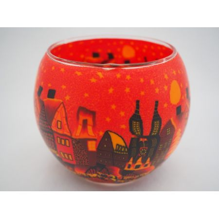 Candlemania - Hv Glowing Globe Candle Holder Red Town