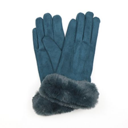 Pom - Teal Faux Suede Glove With Faux Fur Trim